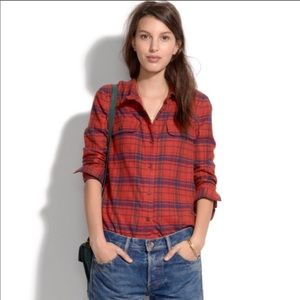 Madewell Red Plaid Flannel Shirt